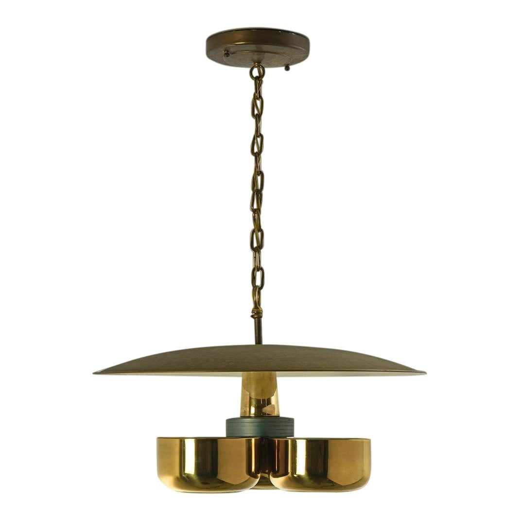 Gerald Thurston Brass Ceiling Pendant Light for Lightolier, Circa 1950's - The Space Detroit