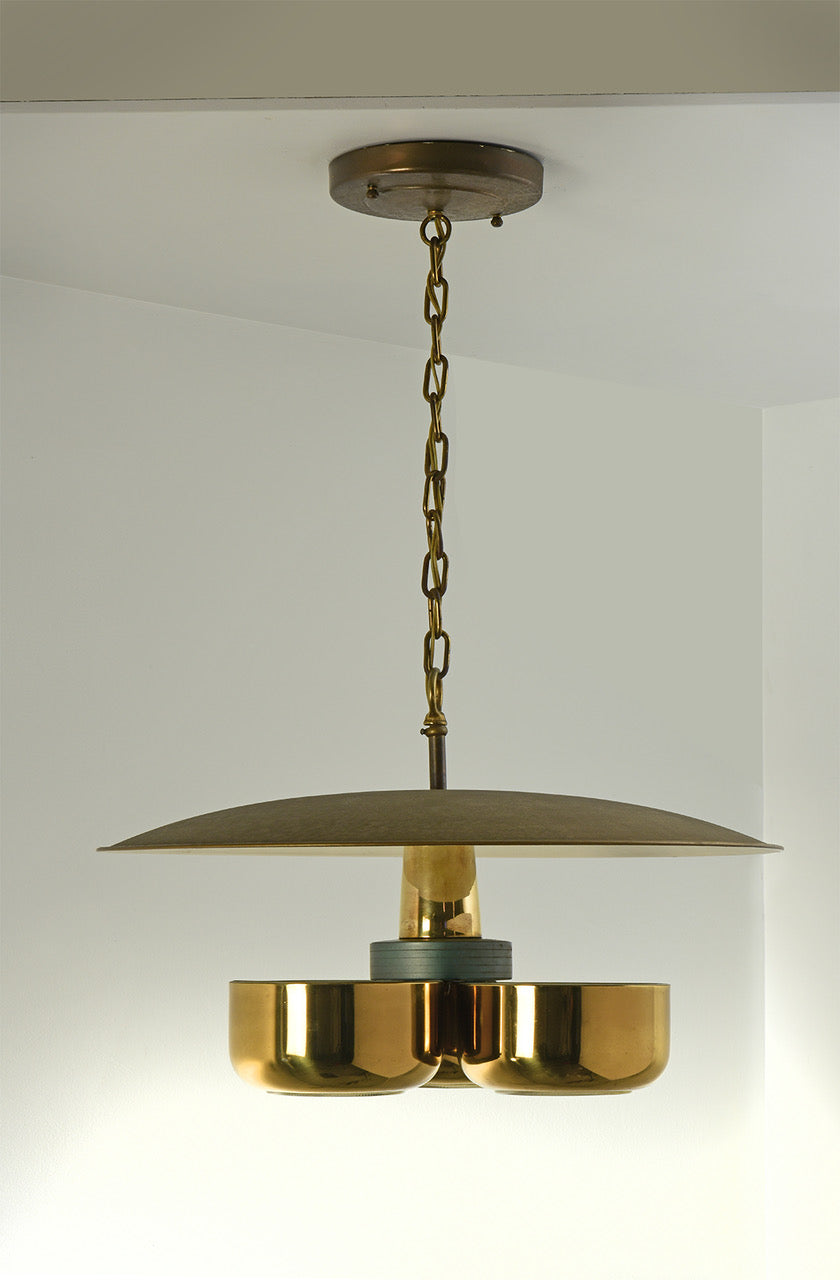 Gerald Thurston Brass Ceiling Pendant Light for Lightolier, Circa 1950's