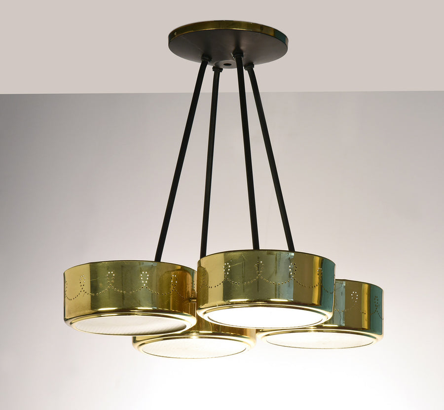 Gerald Thurston for Lightolier Four Shade Chandelier, circa 1960's