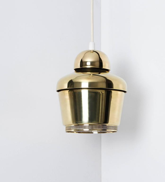 Alvar Aalto, Early Golden Bell Ceiling Lamp, Model A330, 1954