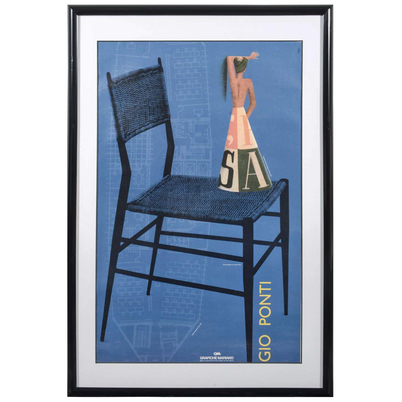 Italian Grafiche Mariano 20th Century Poster of Gio Ponti Design - The Exchange Int