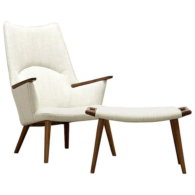 Hans Wegner Chair and Ottoman, Model AP-27, 1950s - The Exchange Int