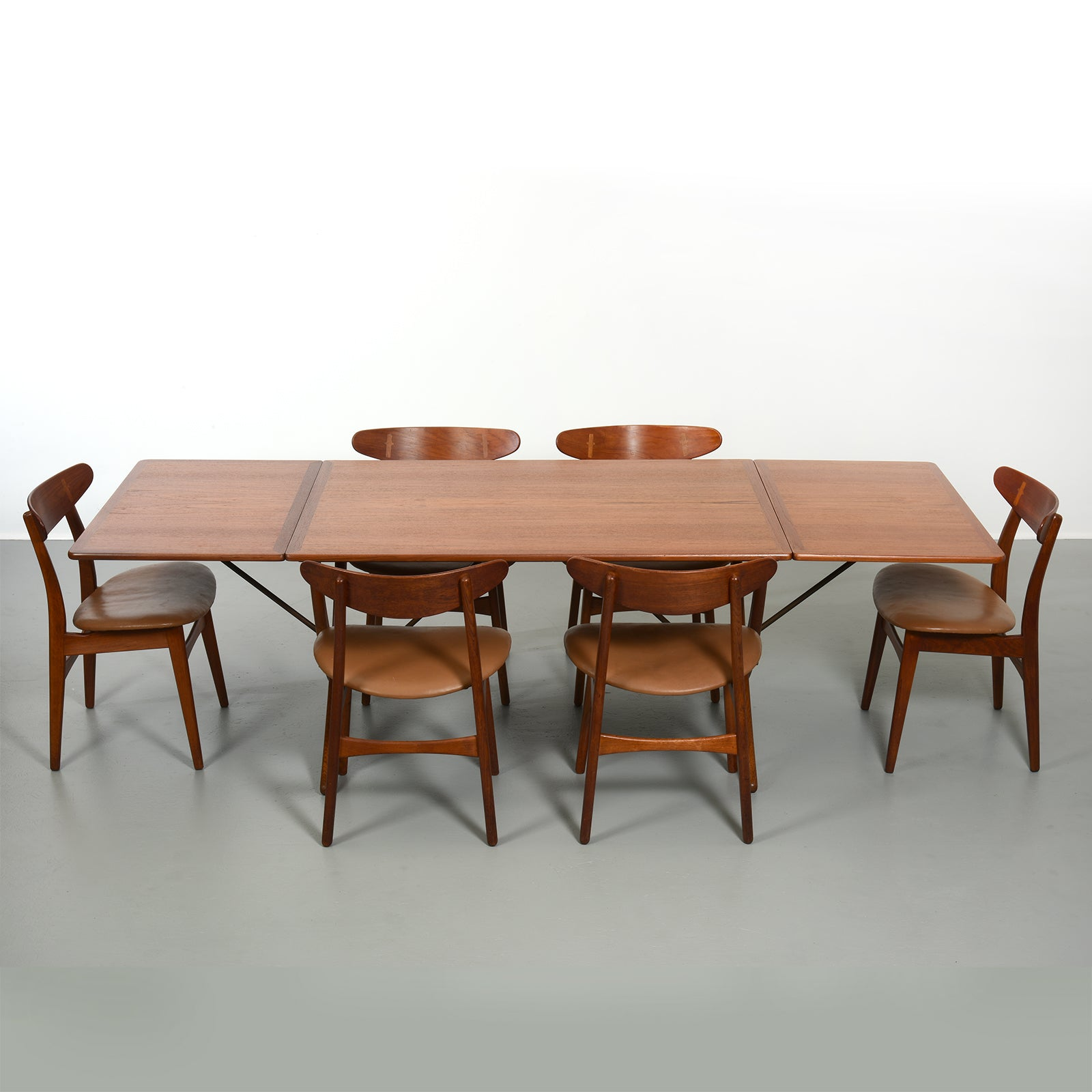 Hans Wegner Dining Table Set Model AT304 with Six Chairs 1950s