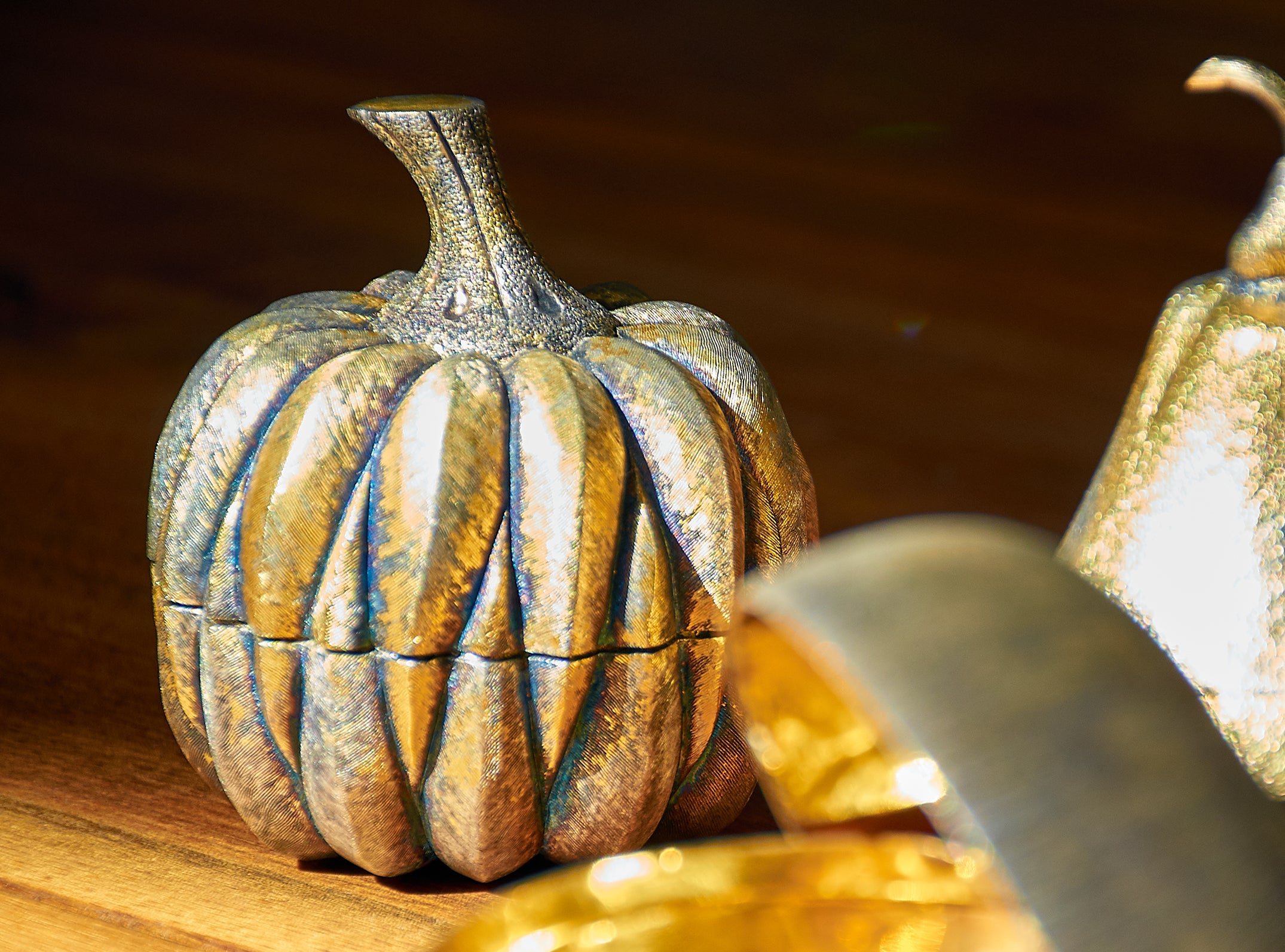 Janna Thomas De Velarde for Tiffany & Co. Gilt Sterling Silver Pumpkin Pill Box, circa 1970's