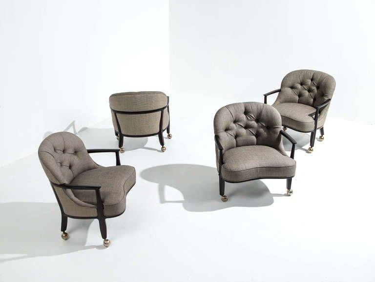 Edward Wormley for Dunbar Janus Armchairs, Set of Four, 1950s