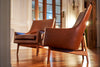 Jens Risom Lounge Chairs A Pair in Leather circa 1960s