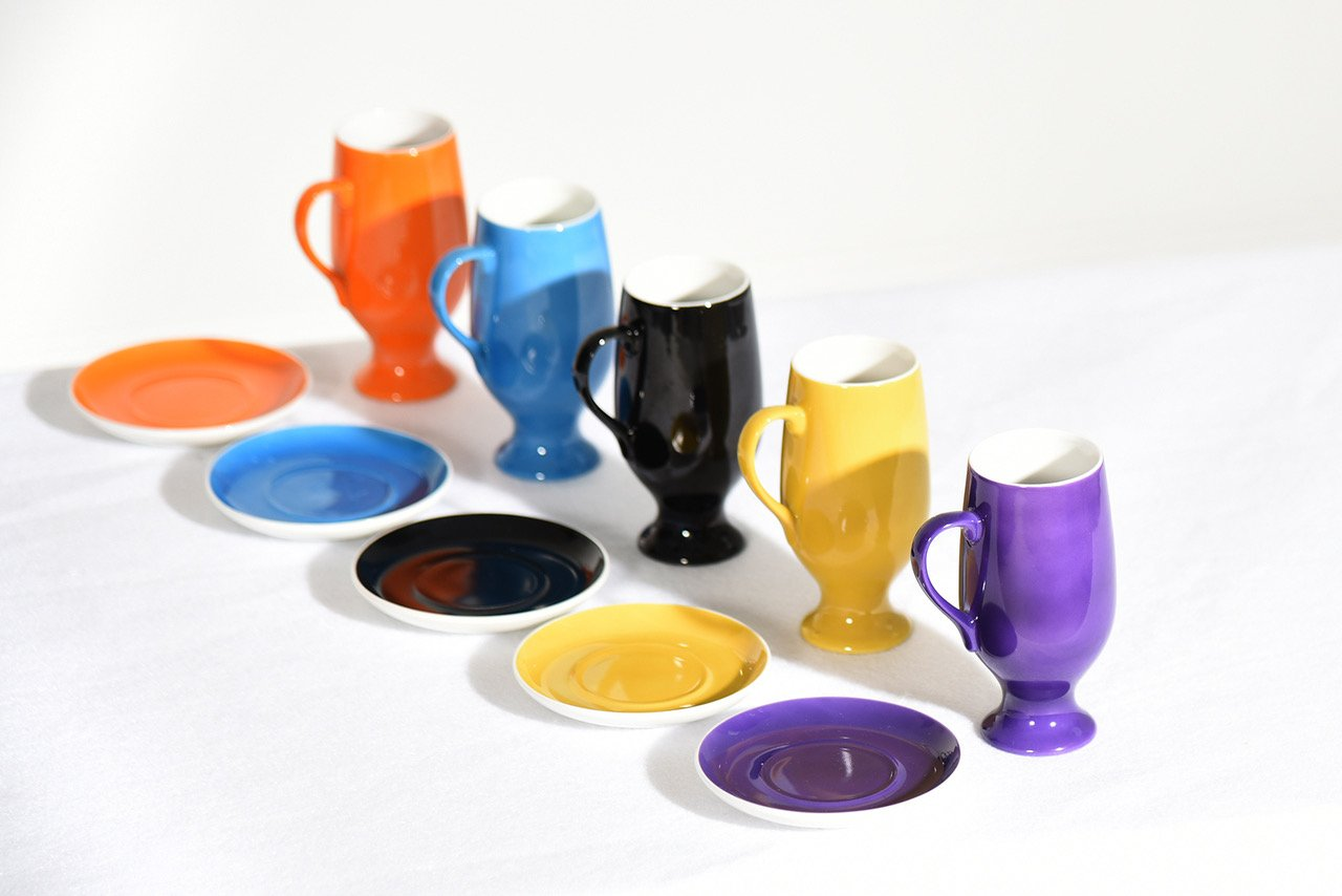 LaGardo Tackett Set of Five Espresso Demitasse Cups Set by Schmid 1960s