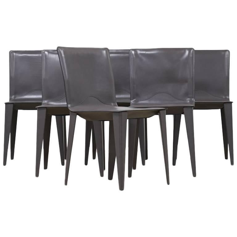 Matteo Grassi, Set of Six Leather Dining Chairs circa 1970's - The Exchange Int