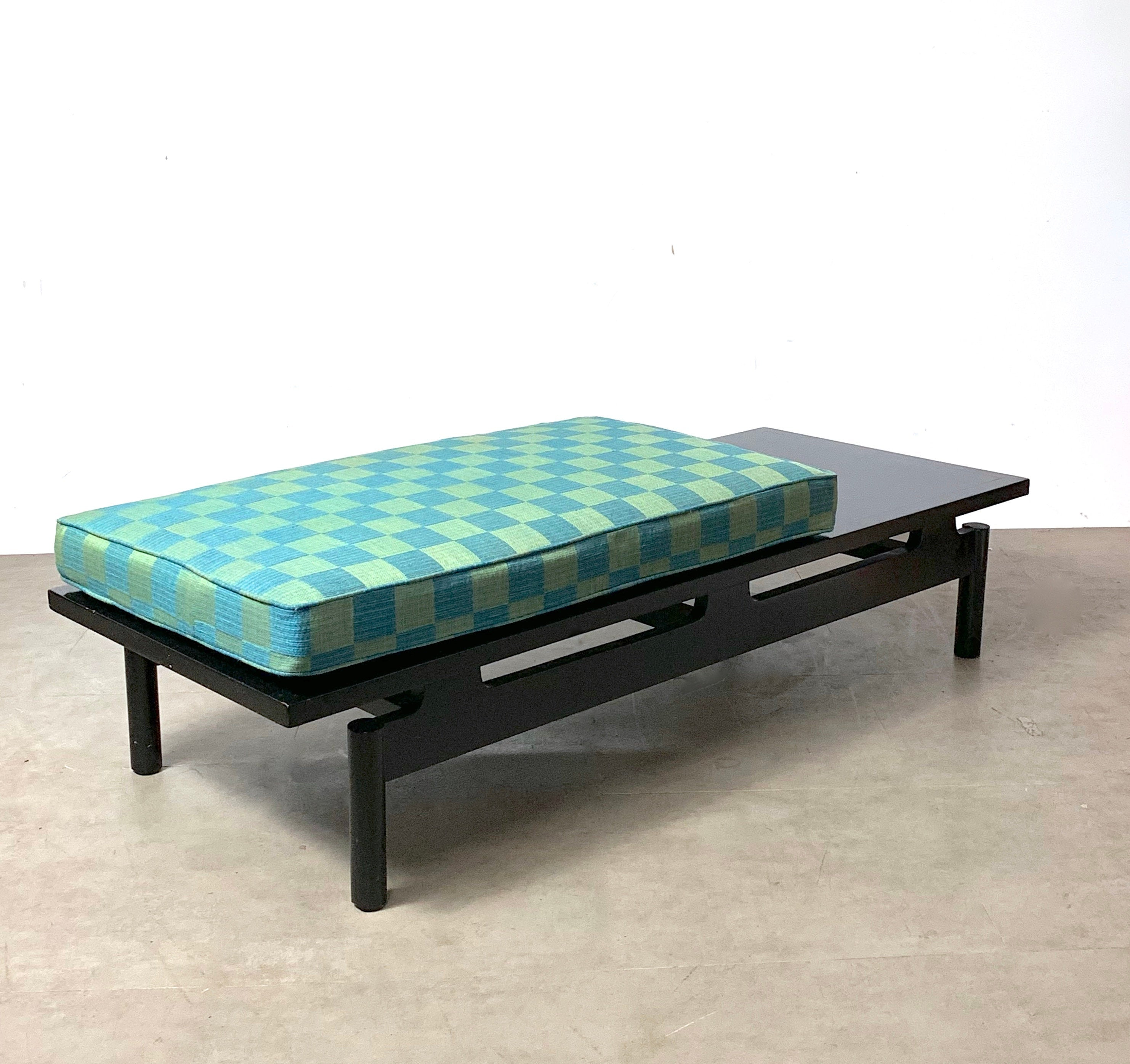 Modernist Ebonized Low Floating Bench with Original 1950s Upholstered Seat Cushion