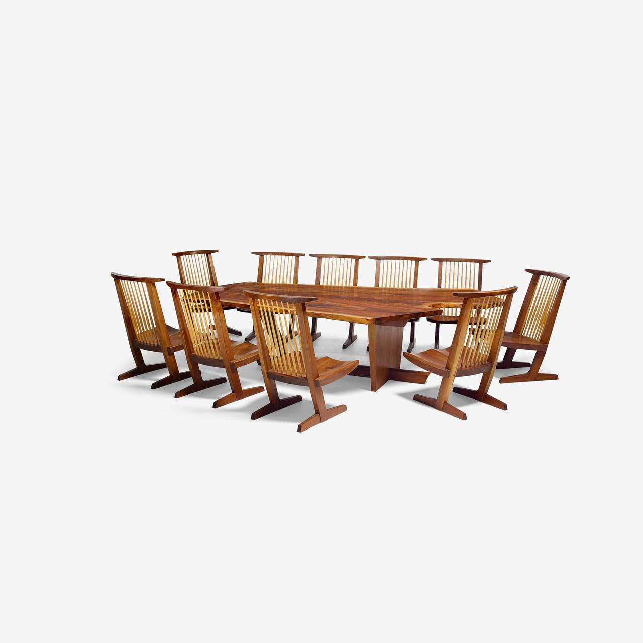 "[SOLD] George Nakashima Custom ""Sanso"" Table and Set of Ten ""Conoid"" Lounge Chairs"