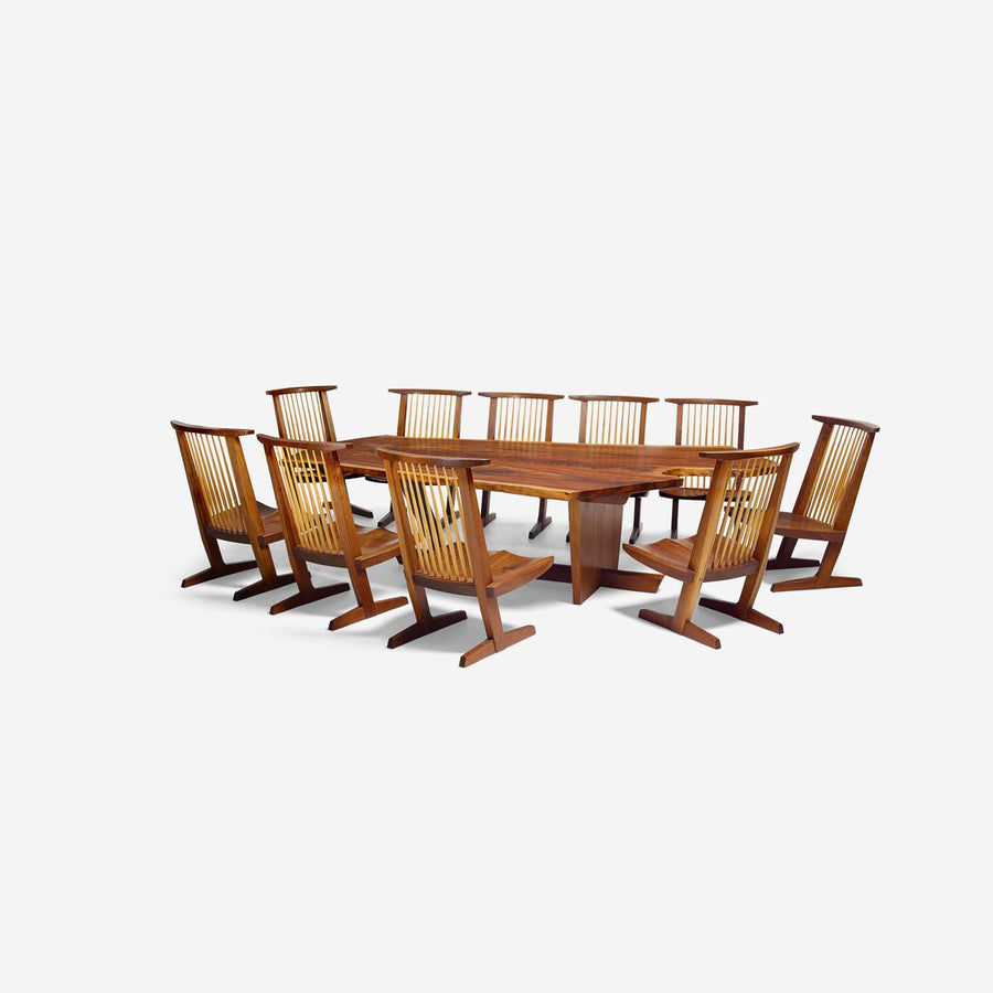 "George Nakashima Custom ""Sanso"" Table and Set of Ten ""Conoid"" Lounge Chairs"