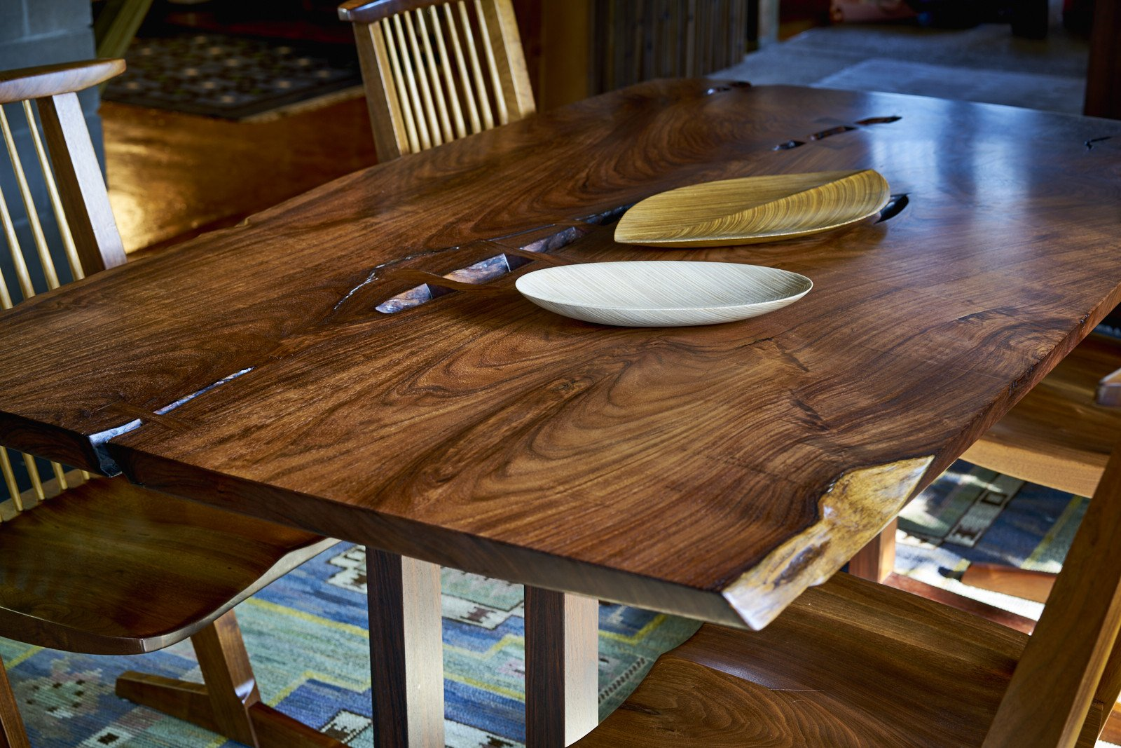 Commissioned Masterwork George Nakashima Single Board Solid Rosewood Table