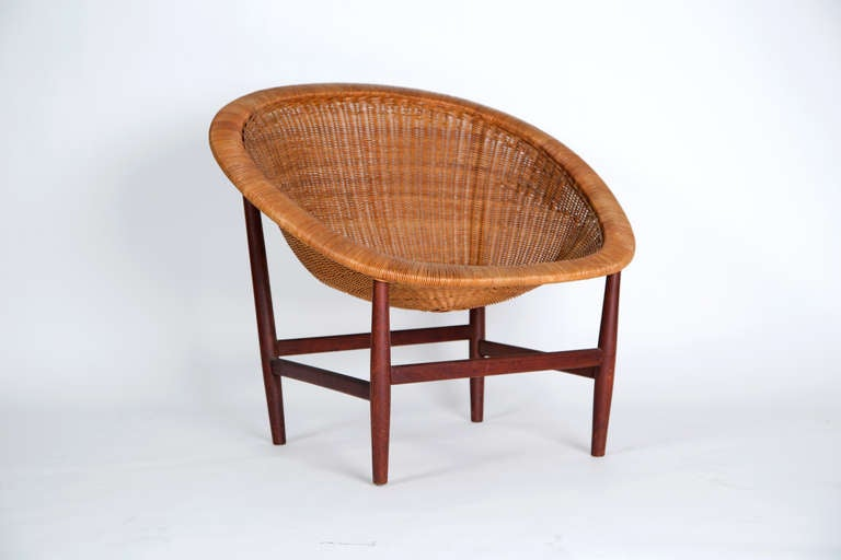 [SOLD] Nanna Ditzel Wicker Basket Chair by Ludvig Pontoppidan circa 1950s - The Exchange Int