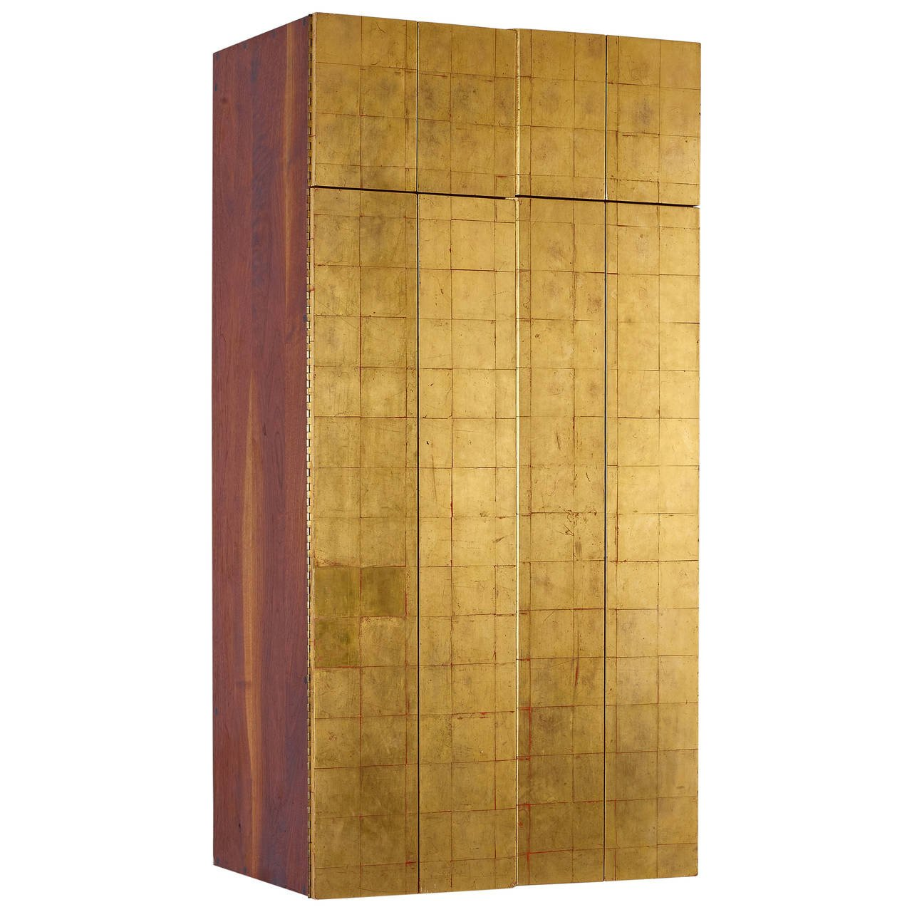 Phillip Lloyd Powell Wall Mounted Gold Leaf Cabinet, 1963 - The Exchange Int