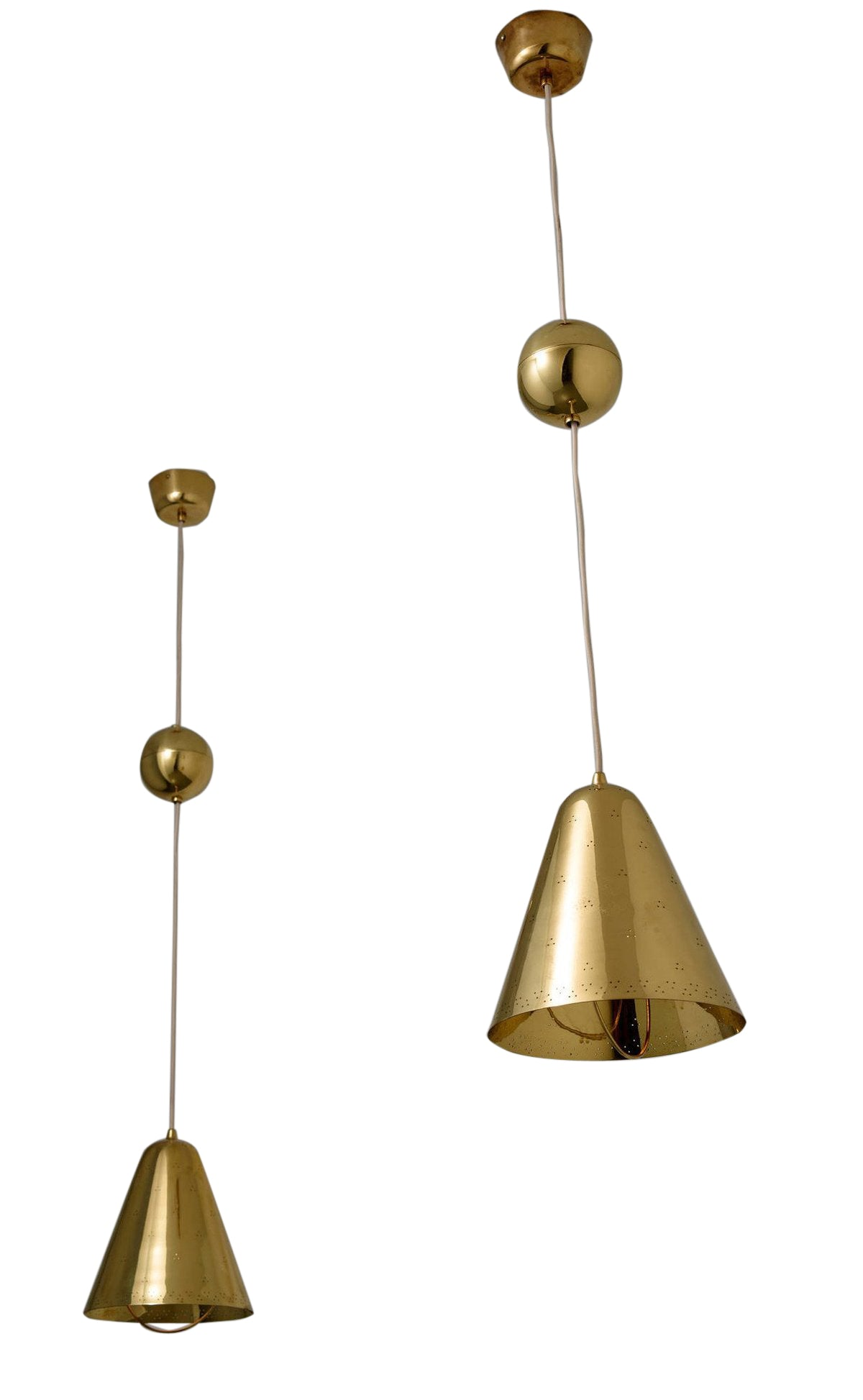 Paavo Tynell Ceiling Pendant Lights a Pair with Adjustable Height by Taito Oy 1950s
