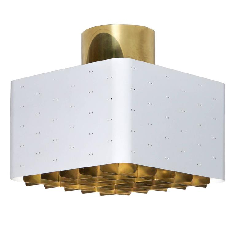 Paavo Tynell White and Brass Ceiling Light by Idman Oy circa 1950s