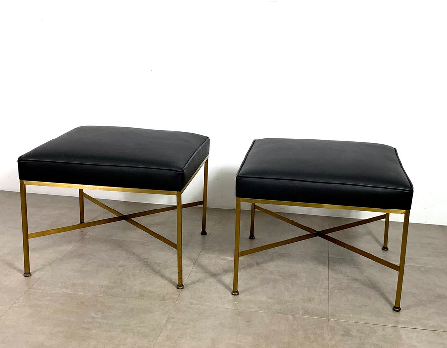 Pair Paul McCobb Directional Brass X Base Stools, circa 1950's