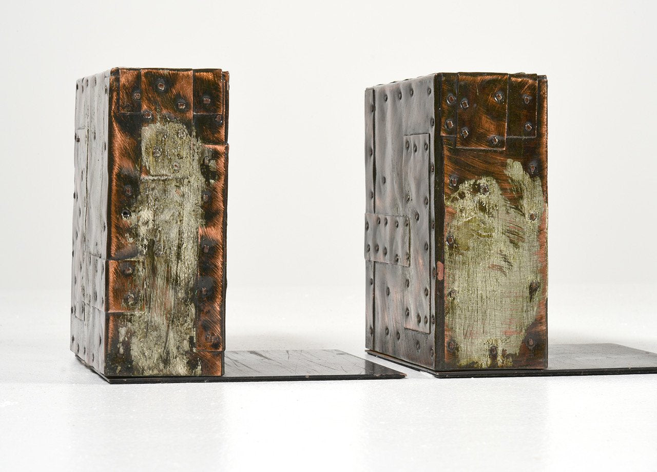 Paul Evans Bookends and Desk Lighter Set circa 1970s