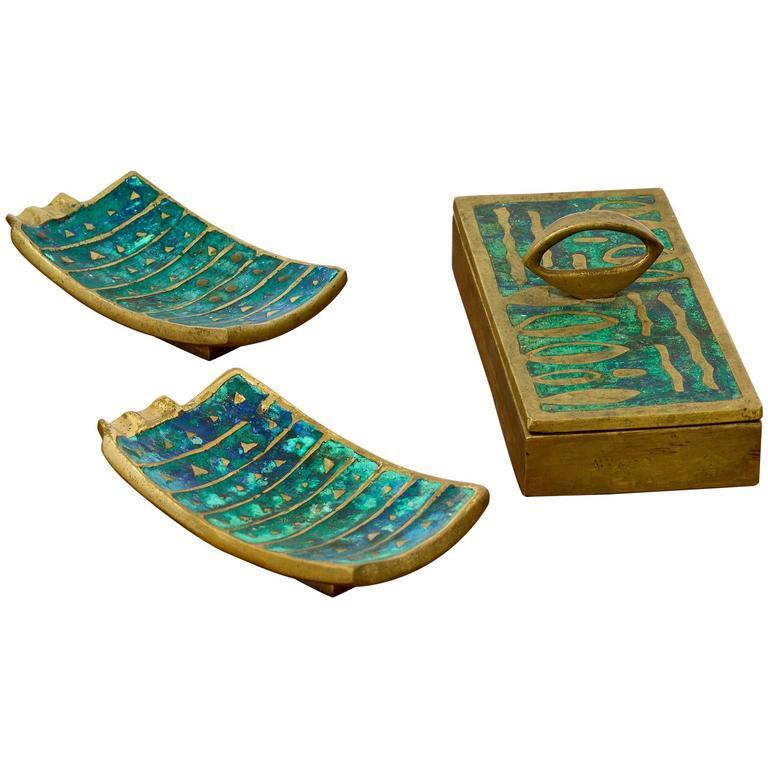Pepe Mendoza Brass and Ceramic Dish, Pair, circa 1950s - The Exchange Int