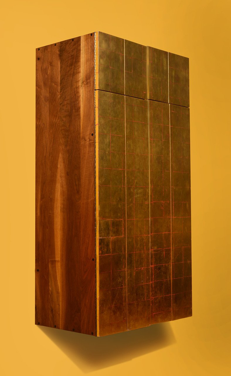 Phillip Lloyd Powell Wall Mounted Gold Leaf Cabinet, 1963