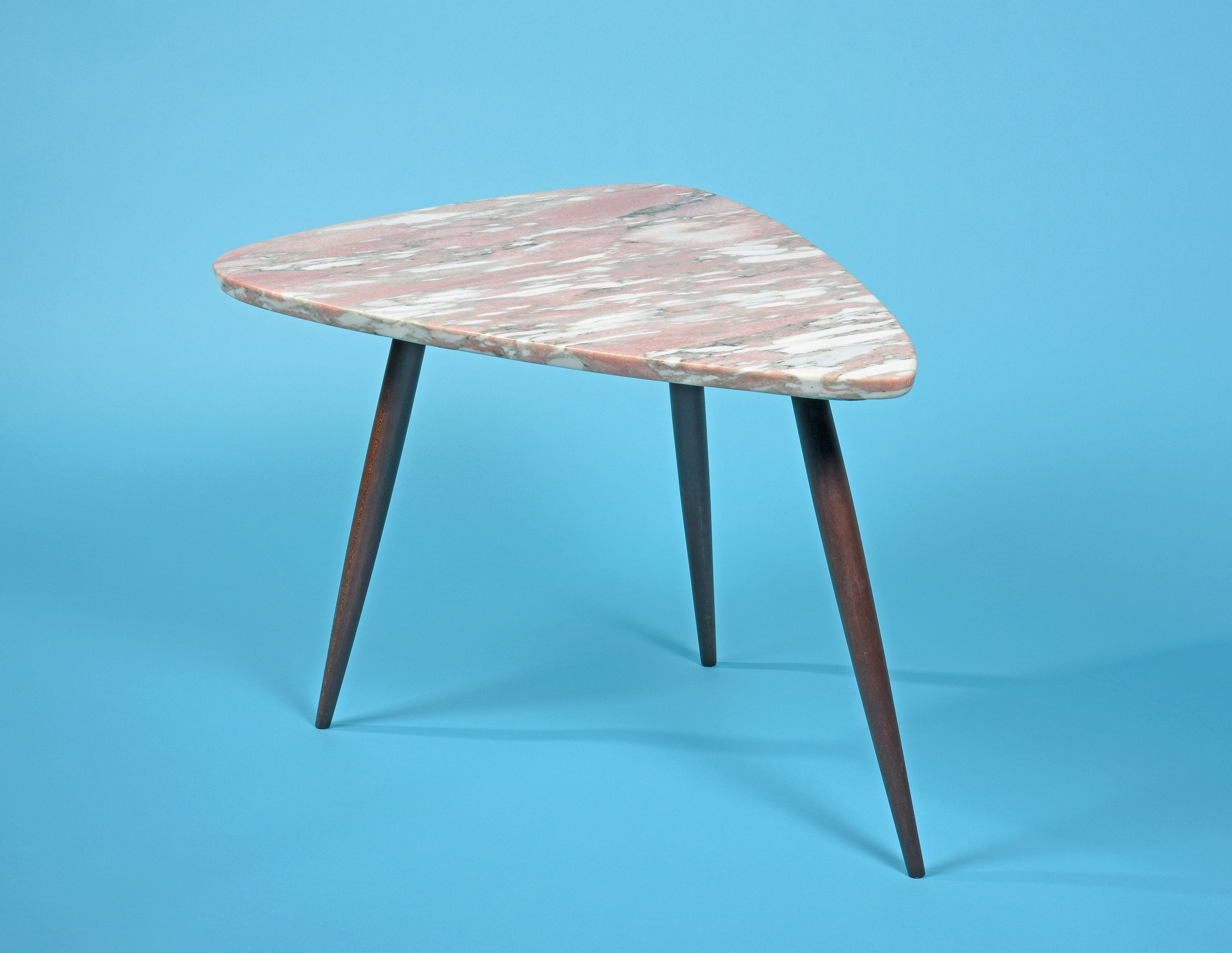 Phillip Lloyd Powell Side Table with Pink Marble Surface 1960s