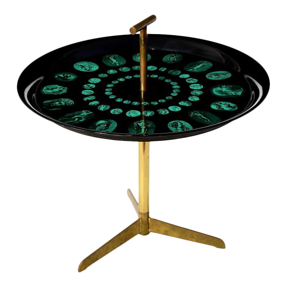 Piero Fornasetti Tripod and Brass Serving Table, 1950s - The Exchange Int