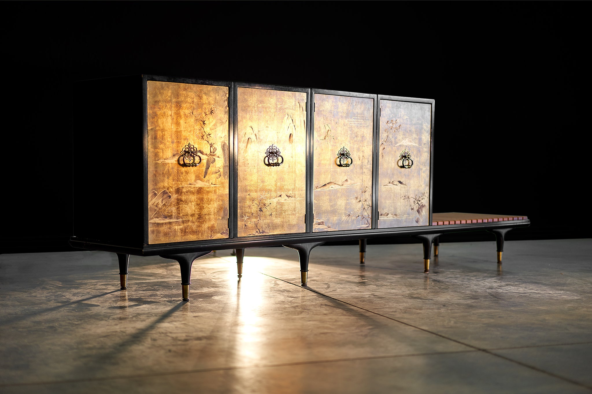 Renzo Rutili Cabinet For Johnson Furniture with Four Gold Leaf Doors circa 1950s