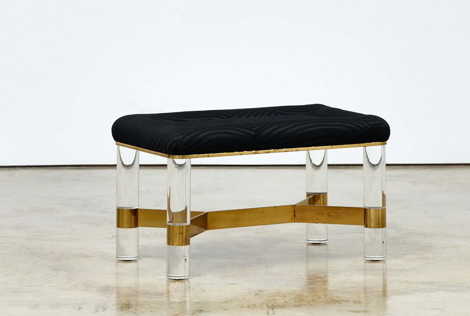 Karl Springer Brass and Lucite Bench