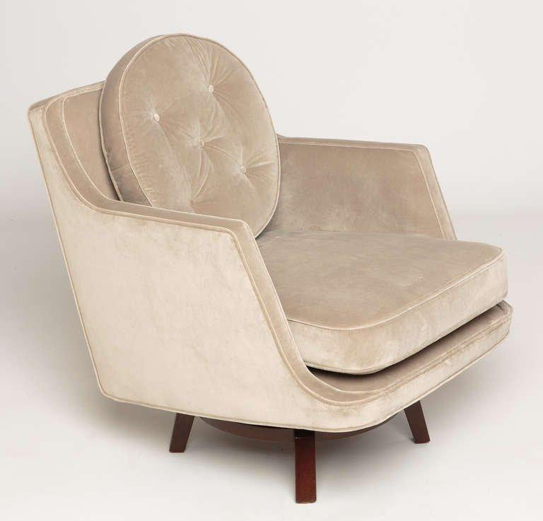 [SOLD] Pair of Dunbar Swivel Lounge Chairs by Edward Wormley