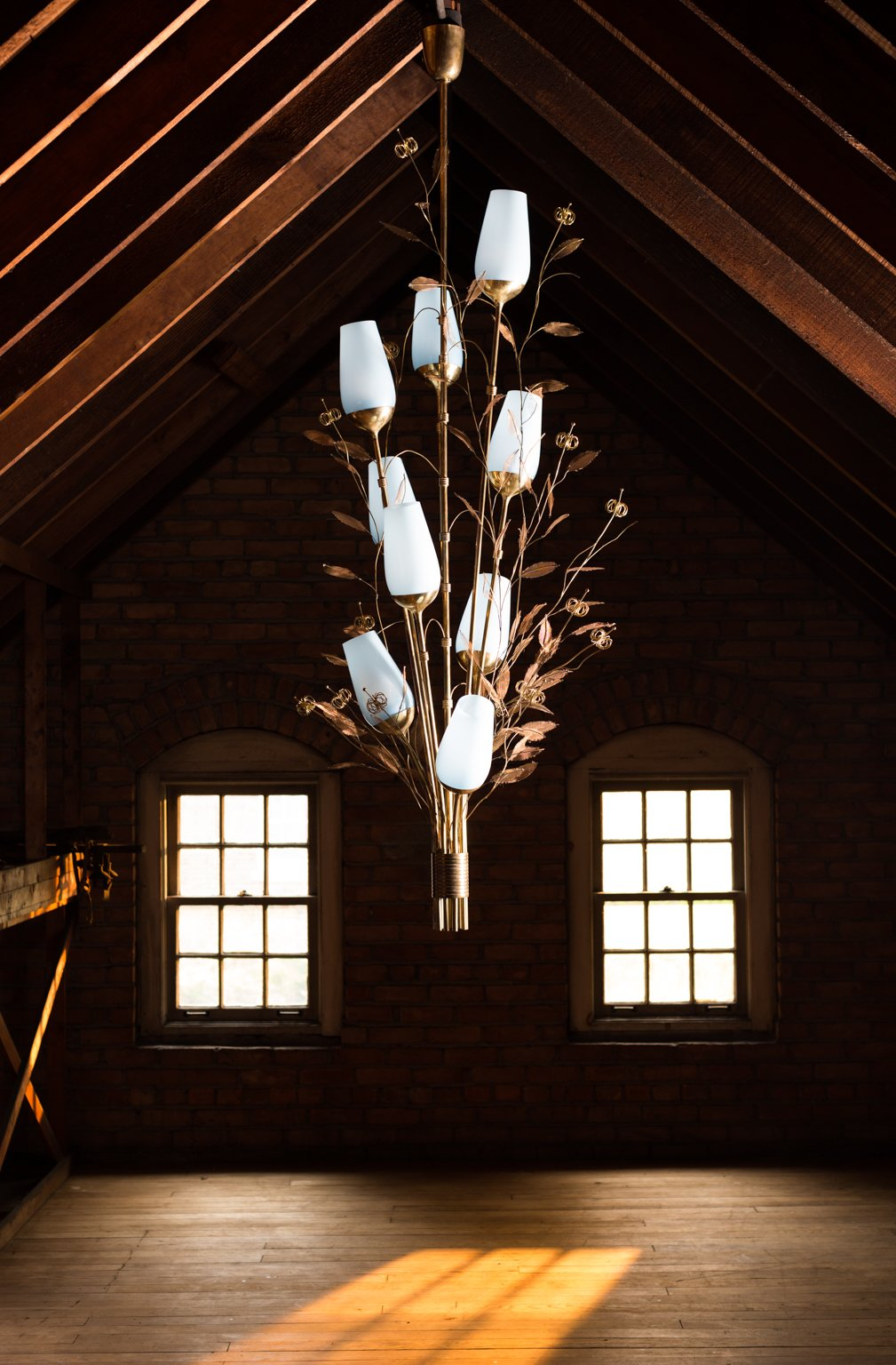 Paavo Tynell Chandelier with Blue Opaline Shades
