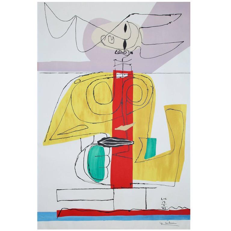 "Le Corbusier Large Lithograph ""Taureau"" 'Le Taureau' 1963 - The Exchange Int"