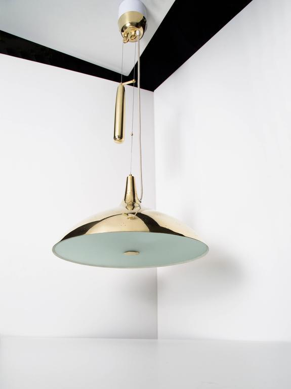 Paavo Tynell Pair of Brass Counter Balance Ceiling Lights, Model 1965