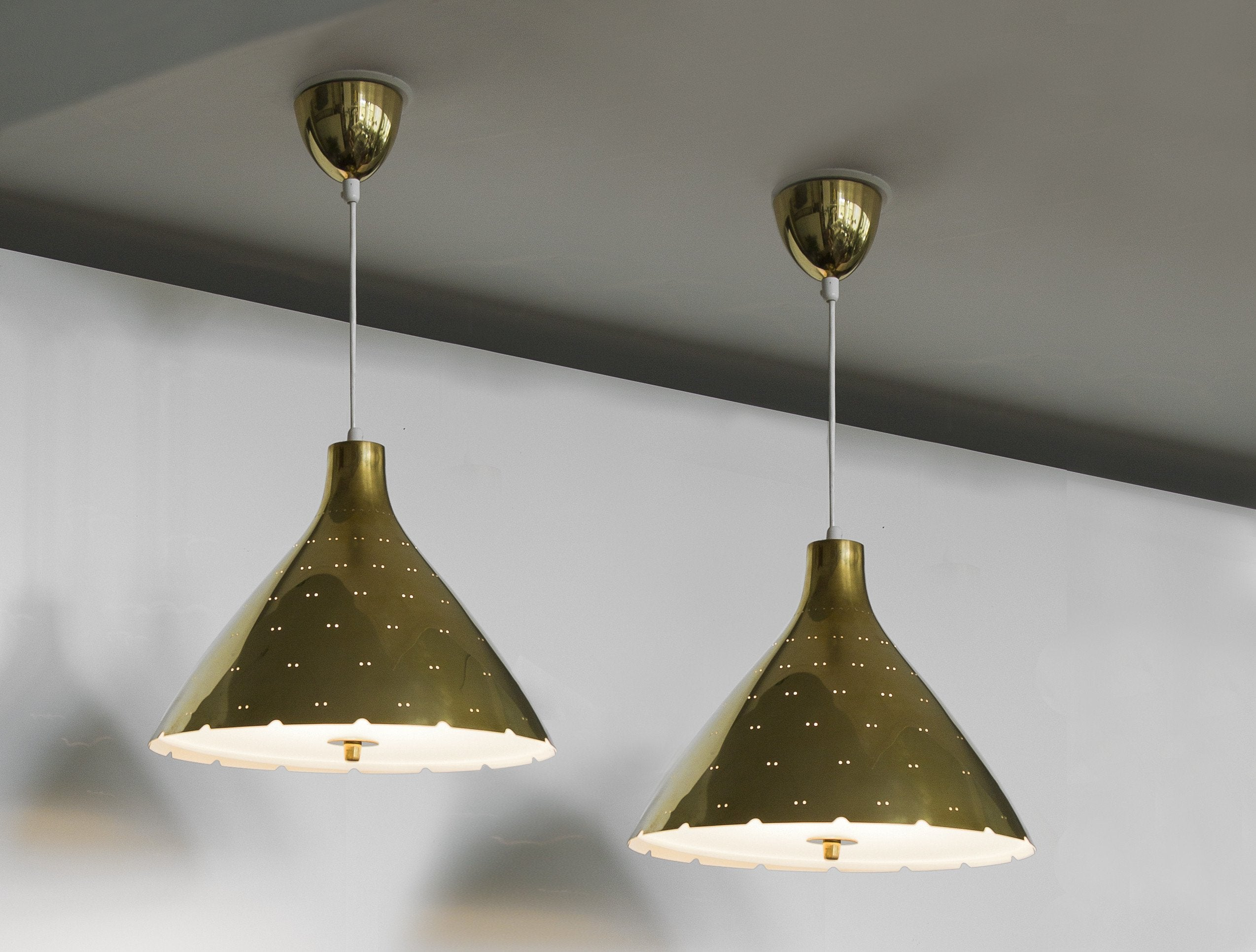 Pair of Paavo Tynell Ceiling Lamps by Taito Oy 1940s