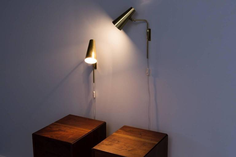 Paavo Tynell Adjustable Reading Brass Sconces by Idman circa 1950s