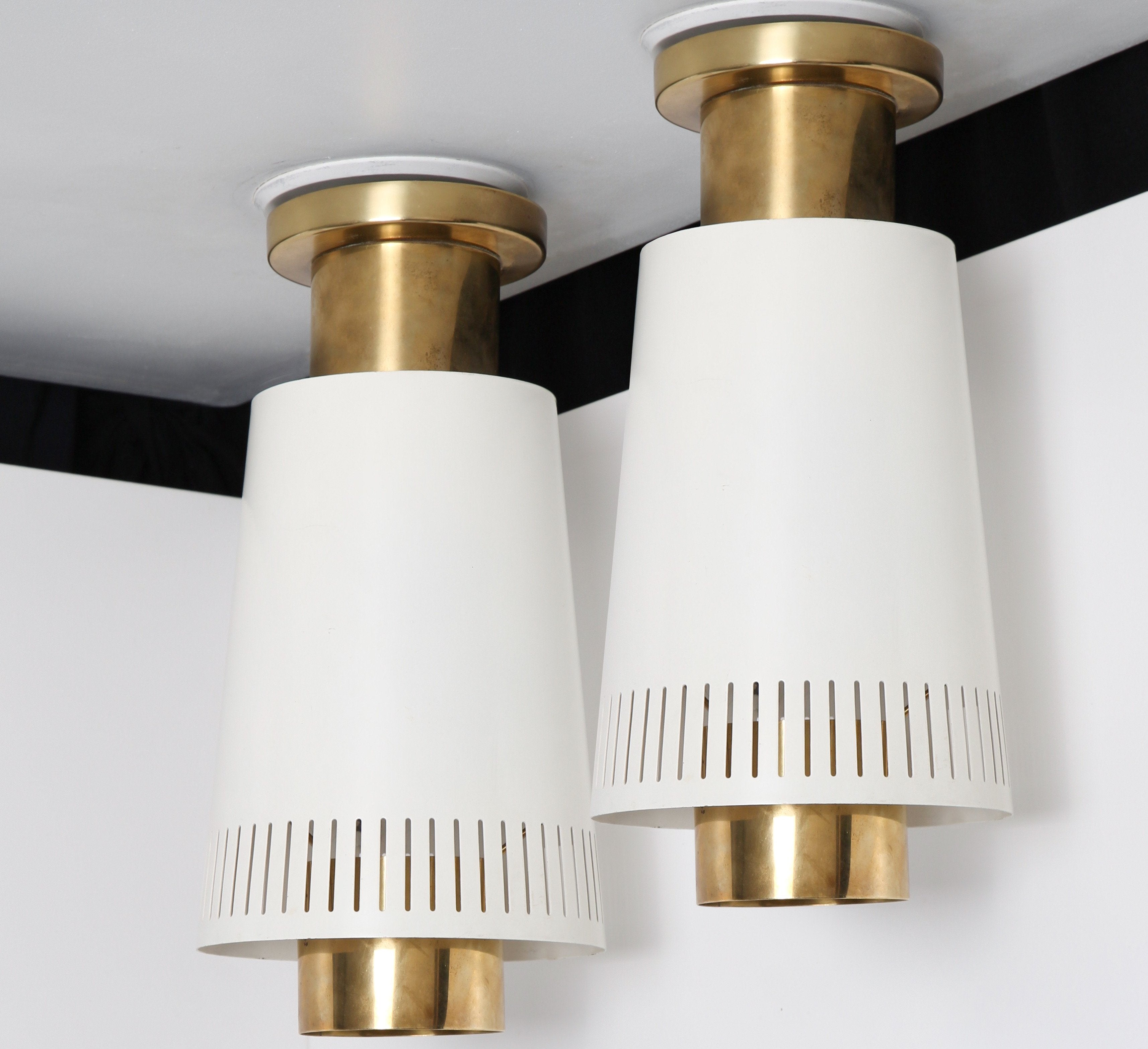 Paavo Tynell Pair of Mounted Ceiling Lamps by Idman Oy 1950s