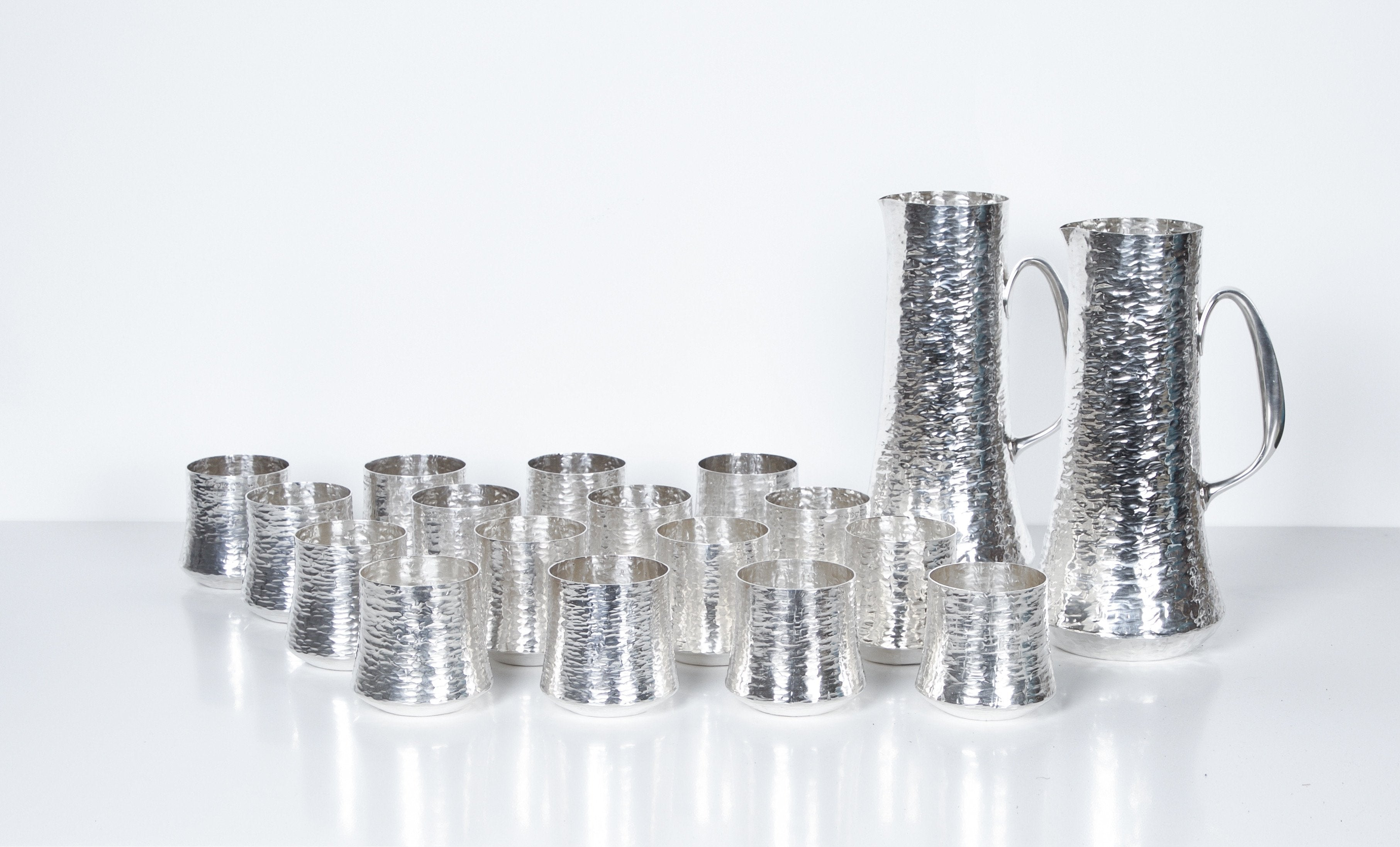 Tapio Wirkkala Set of Silver Pitchers and Cups, 18 Pieces Finland 1970s