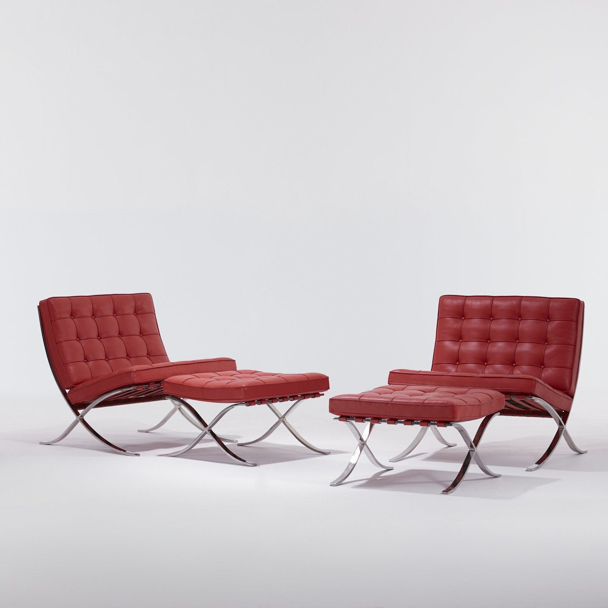 Original Ludwig Mies van der Rohe, Pair of Barcelona Chairs and Ottomans, Custom Order