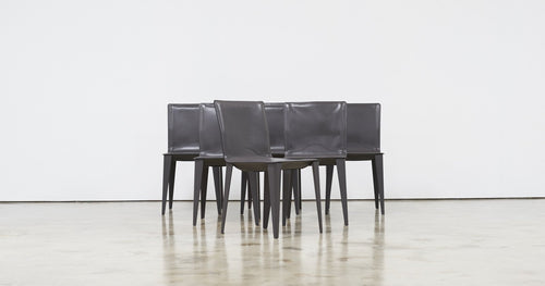 Matteo Grassi, Set of Six Leather Dining Chairs - The Exchange Int