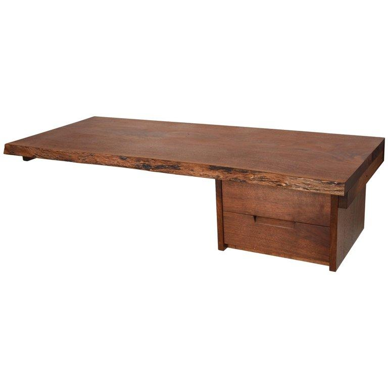 George Nakashima Desk or Shelf in Walnut with Two Drawers - The Exchange Int
