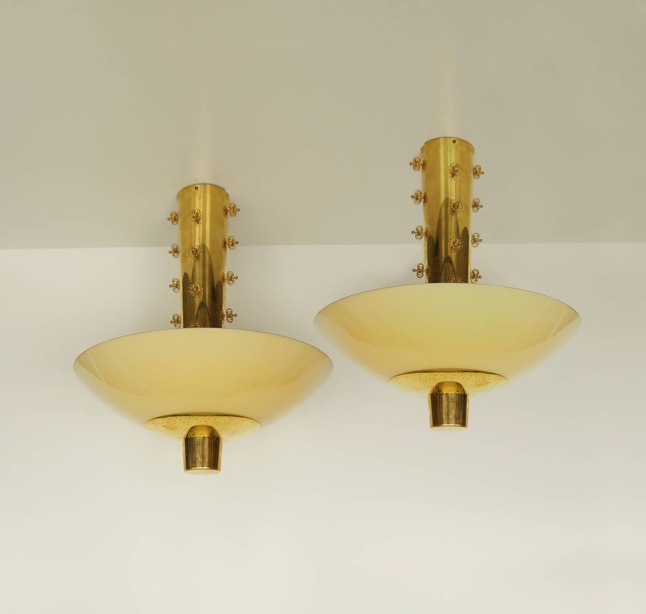 Paavo Tynell Pair of Custom Ceiling Lights for Taito Oy, 1940s