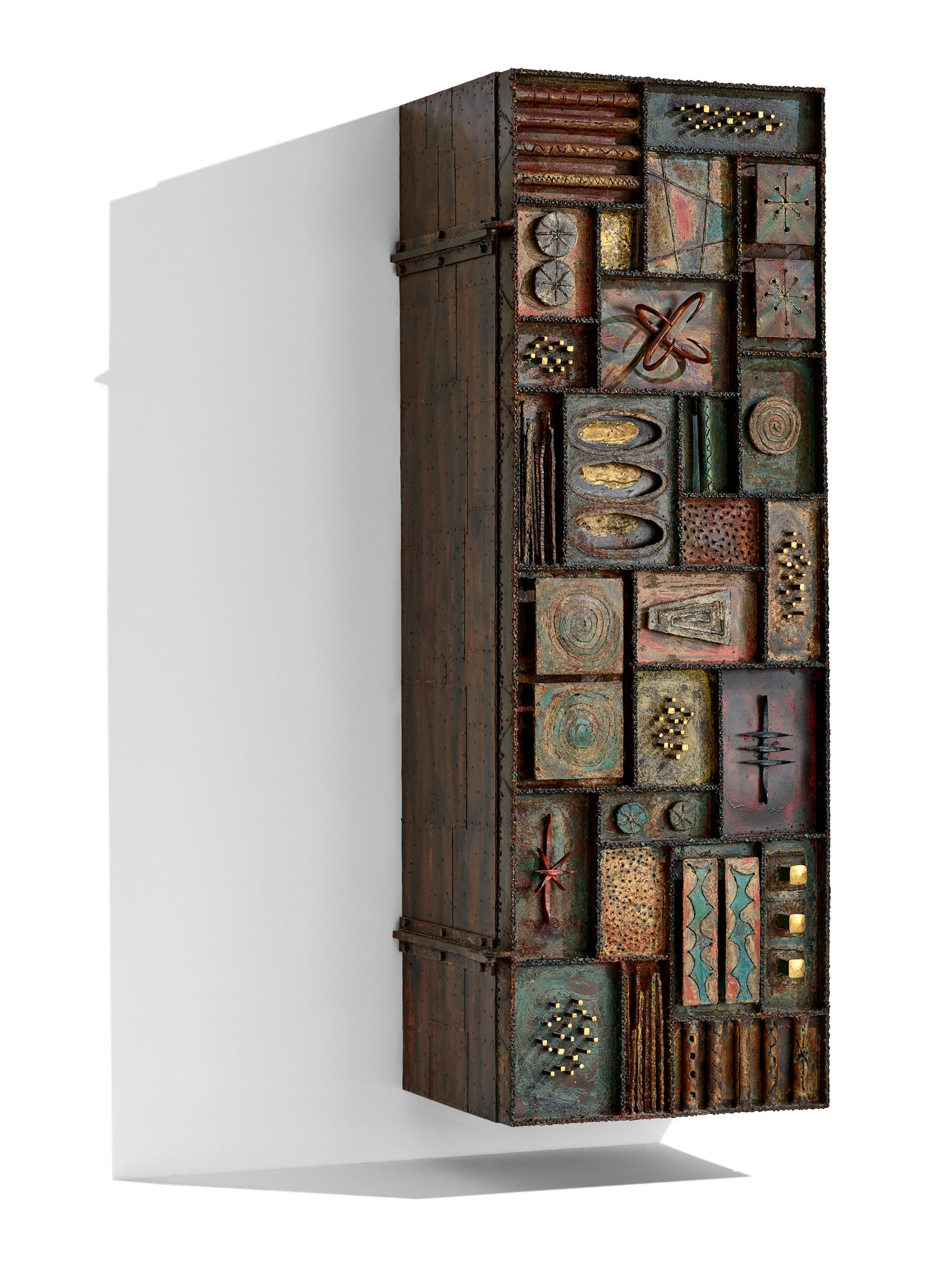 """Sculpture Front"" Paul Evans Studio Wall Hung 72"" Cabinet circa 1973 - The Exchange Int"