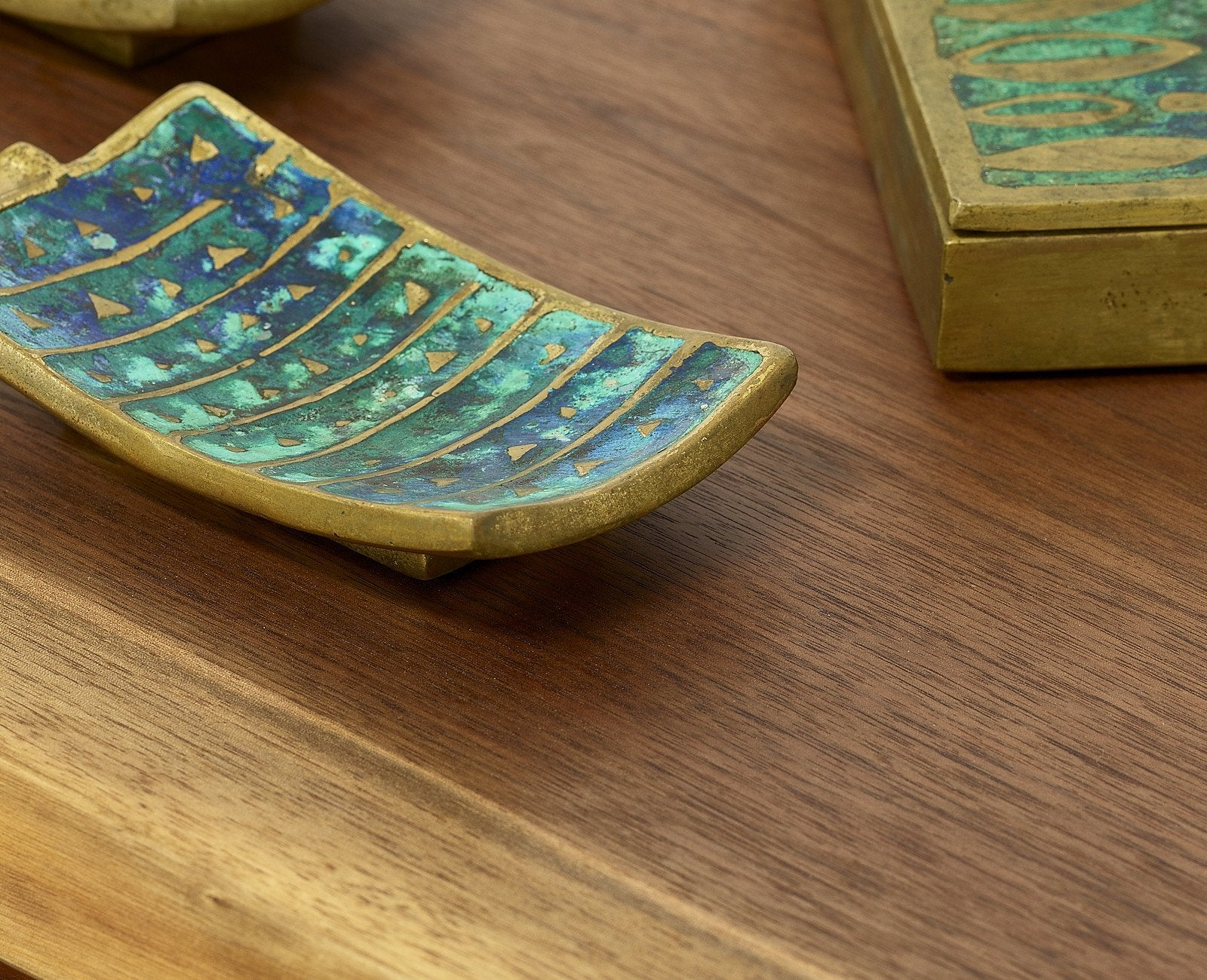 Pepe Mendoza Brass and Ceramic Dish, Pair, circa 1950s