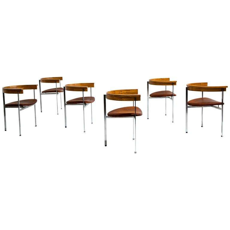 Six Poul Kjaerholm PK 11 Chairs for E. Kold Christensen, Original Condition, 1957 - The Exchange Int