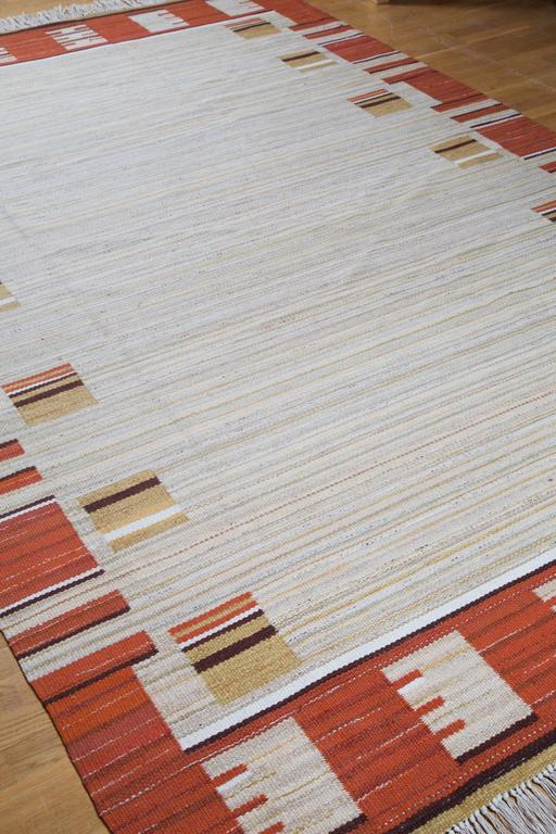 Swedish Art Deco Modernist Flat-Weave Rug, 1930s
