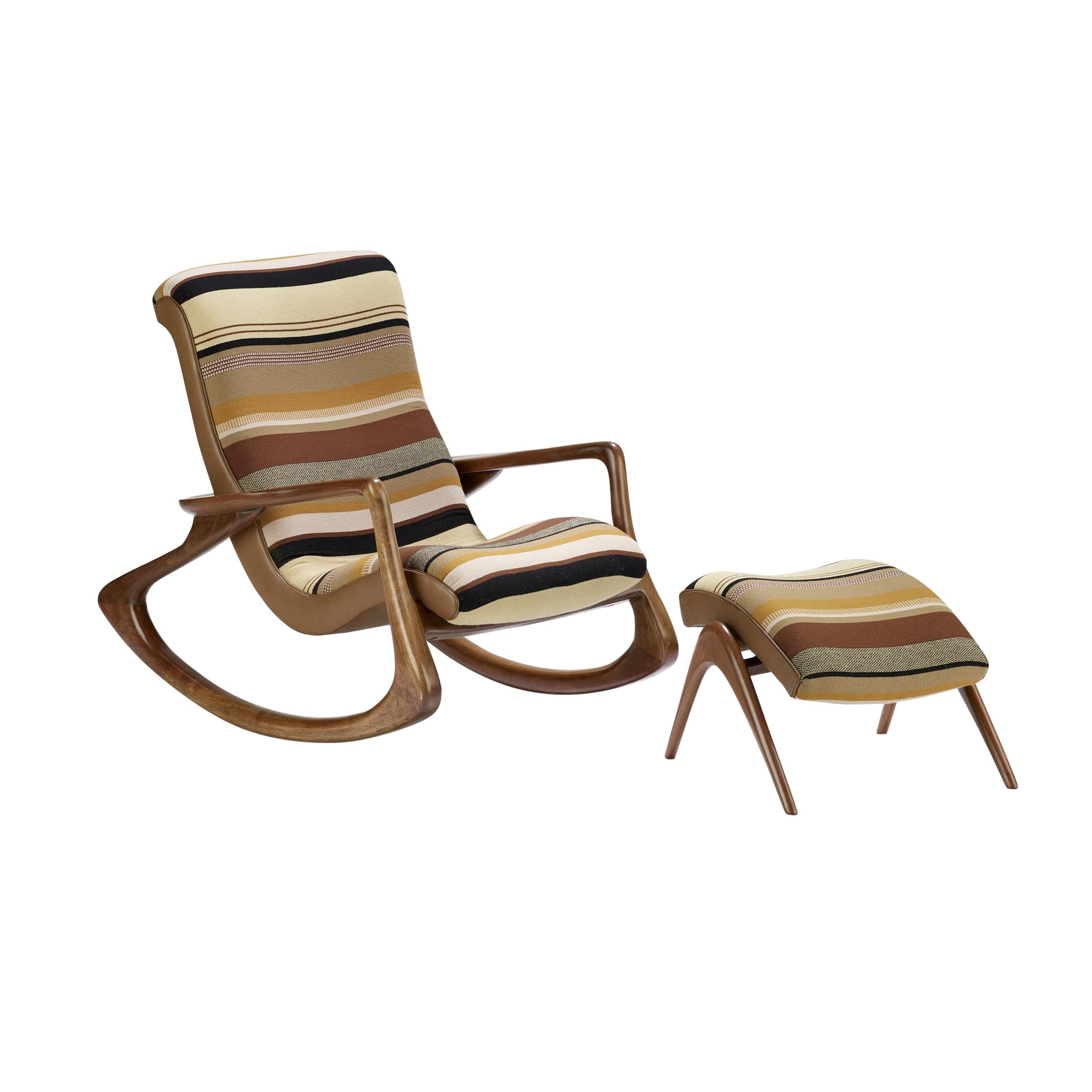 Vladimir Kagan Contour rocking chair and ottoman - The Exchange Int