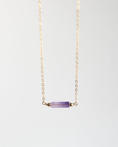 Minimalist Amethyst Bar Necklace - Vida Jewelry Designs