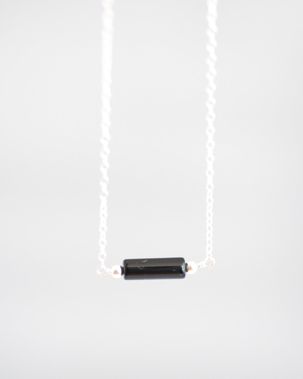 Black Onyx Bar Necklace in Silver - Vida Jewelry Designs