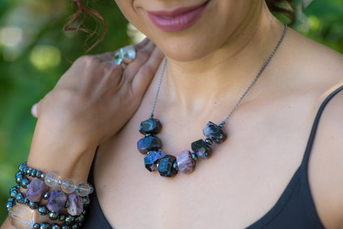 Chunky Charoite Nugget Necklace - Vida Jewelry Designs