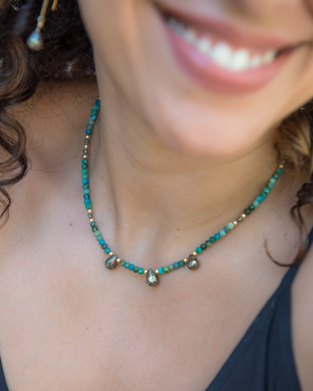 Chrysocolla Necklace with Pyrite Accents - Vida Jewelry Designs