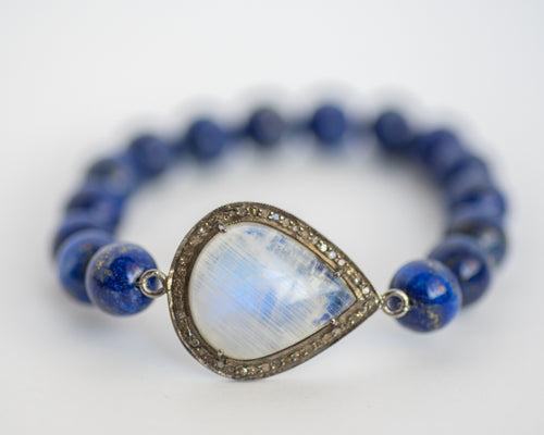 Moonstone Bracelet with Diamonds and Lapis - Vida Jewelry Designs